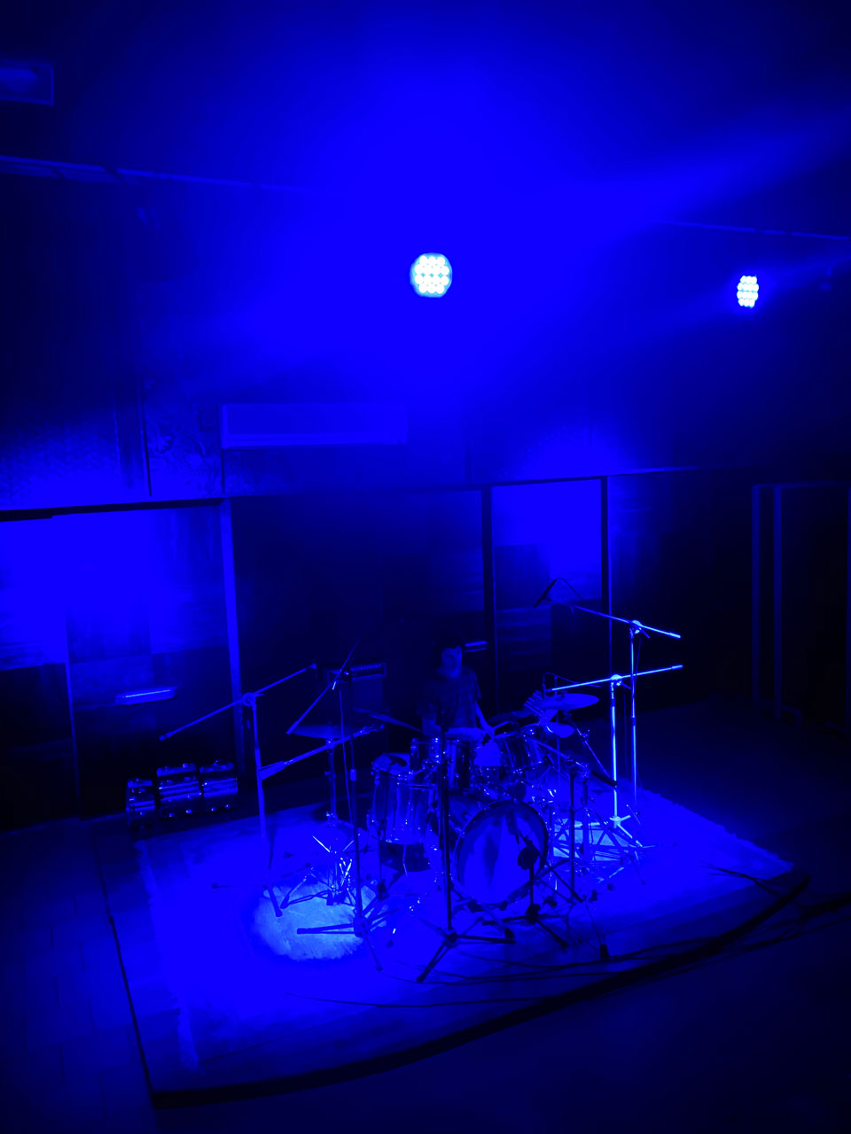 Live room studio B with drum kit set up